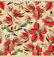 Red flowers seamless pattern and cute birds print