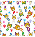 seamless pattern cartoon merry christmas girl vector image