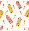 Seamless pattern with bright dutch building