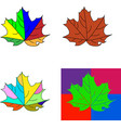 set of bright maple leaves isolated on white vector image vector image