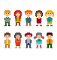 set of different pixel art 8-bit people characters vector image vector image