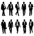 set silhouette businessman man in suit with tie on vector image vector image
