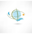simple planet symbol with wave vector image vector image