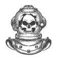 skull in broken diving helmet vector image vector image