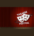 theatre festival stage with red velvet curtain vector image vector image
