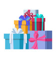 three gifts are stacked one on another vector image vector image