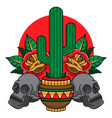 traditional cactus tattoo vector image vector image