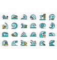 tsunami icons flat vector image vector image