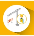 under construction worker with crane barrier vector image vector image