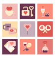 valentine day flat icon set vector image