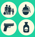 warfare icons set collection of danger bombshell vector image vector image
