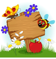wooden sign with flowers and insects vector image