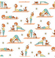 yoga seamless pattern with cartoon girl and dog vector image vector image
