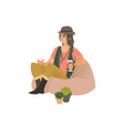 young hippie and hipster woman or girl in a hat vector image vector image