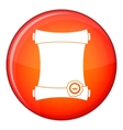 Paper scroll with wax seal icon flat style vector image