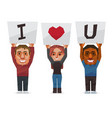 people show the sign of i love you word vector image