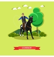 Cowboy on horse with lasso flat design vector image