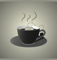 black cup of tea wit teabag flat style vector image