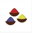 Indian seasoning spices in little wooden bowls vector image