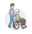 an elderly woman and a nurse vector image vector image