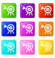 arrow hit the target icons 9 set vector image vector image