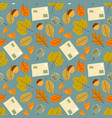 autumn seamless pattern with leaf leaf vector image vector image