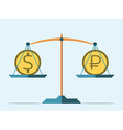 Balance dollar and ruble vector image vector image