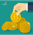 bitcoin sign icon for digital money vector image