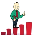businessman jump over growing chart concept vector image vector image