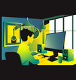businesswoman sitting on her workplace in the vector image