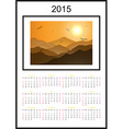 Calendar 2015 Sun Mountain Landscape vector image