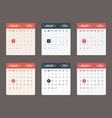 calendar template for application starts sunday vector image vector image