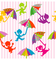 Children silhouettes with doodle umbrellas vector image