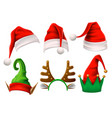 christmas holiday hat funny 3d elf snow reindeer vector image vector image