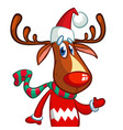 christmas reindeer in santa claus hat vector image