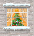 christmas window in brick wall vector image vector image