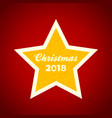 christmas yellow star with decorative text on red vector image vector image