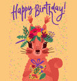colorful happy birthday card with cute squirrel vector image