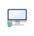 computer and pencils supplies learning online vector image