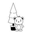 cute bear teddy with pine kawaii character vector image