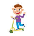 cute of boy on scooter having vector image vector image