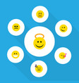 flat icon emoji set of grin hush angel and other vector image vector image