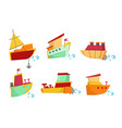 flat set small wooden boats with cute vector image vector image