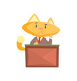 funny businessman fox in a suit sitting at the vector image vector image