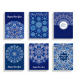 happy new year cards flourish mandala design vector image vector image