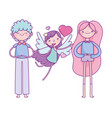 happy valentines day young couple flying cupid vector image vector image