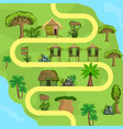 map tropical island with bungalows top view vector image vector image