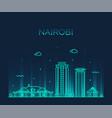 nairobi skyline kenya city linear style vector image vector image