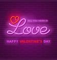 neon love design vector image vector image