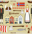 norway icon set pattern vector image